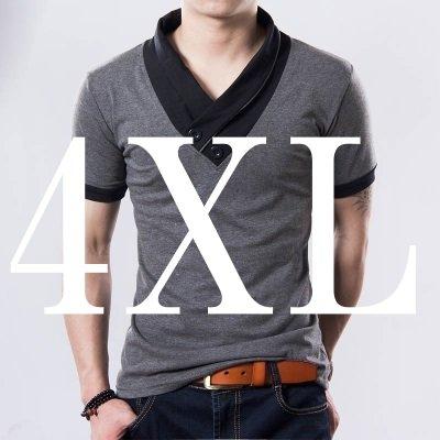 (メイク トゥ ビー) Make 2 Be スリム Vネック 半袖 Tシャツ スカーフ風 カジュアル シャツ MF01 (15.半袖 灰 XXXXL)