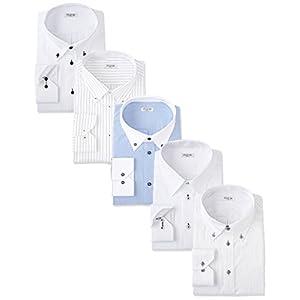 (アトリエサンロクゴ) atelier365 ワイシャツ 選べる8種類 5枚セット長袖/at101-M-39-82-AT101-Bset-sm-2016