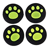 ハンドルキャップPS4用,SODIAL(R) ピンクブラック猫の足アナログサムスティックシリコーンジョイスティック、ハンドルキャップ、PS4/ Xbox One/ PS3/ Xbox 360のコントローラ用