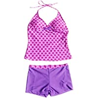 iiniim Big Girls' Polka Dots 2 Piece Halter Tankini Swimwear Summer Clothes