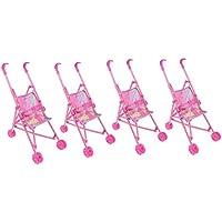 KESOTO 2サイズ選ぶ 人形トロリー 保育室装飾 人形家具 子どもおもちゃ お世話パーツ ベビープッシュカート - 4個