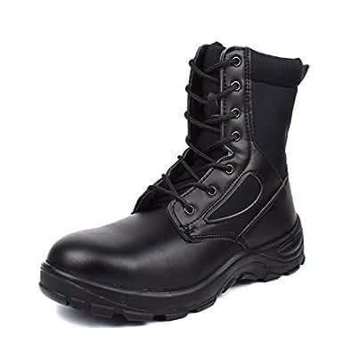 [Placck安全] ミリタリーブーツ 安全靴 ジャングルブーツ 片足約550g 黒色 ブラック 防水 防滑 大きいサイズ 24cm