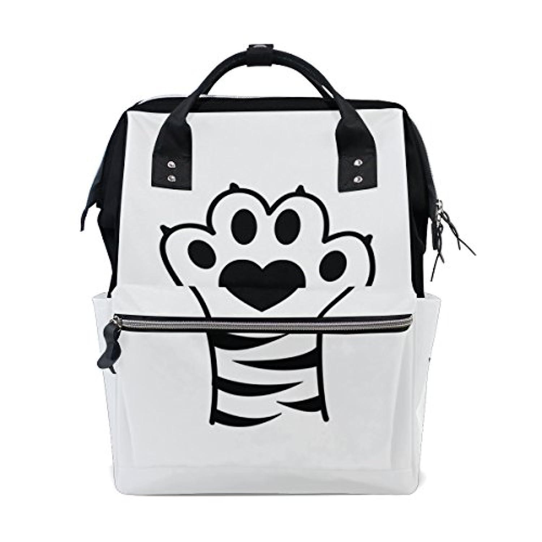 ママバッグ マザーズバッグ リュックサック ハンドバッグ 旅行用 猫の足跡 プリント ファション
