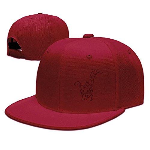 猫 楽器 バイオリ ンコンサート 男女兼用 平らつば 野球帽 BBキャップ ヒップホップ 帽子 オリジナル レッド