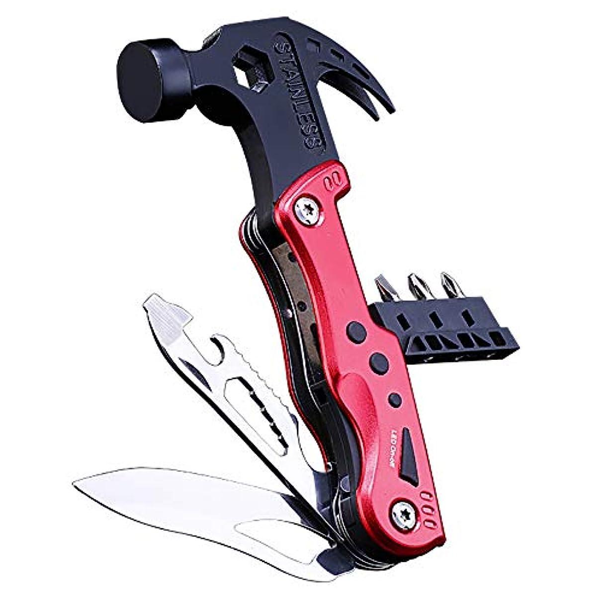 終了するやりがいのある毒性庭斧軸多機能工具ステンレス鋼自動緊急キットツール、安全ハンマースクリュードライブ鋸ナイフ,Red