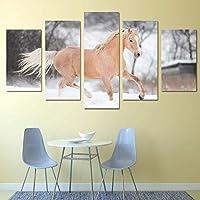 キャンバスにプリントキャンバス絵画リビングルームの壁ポスターフレームでモジュラープリント5パネル雪の上の馬の装飾写真