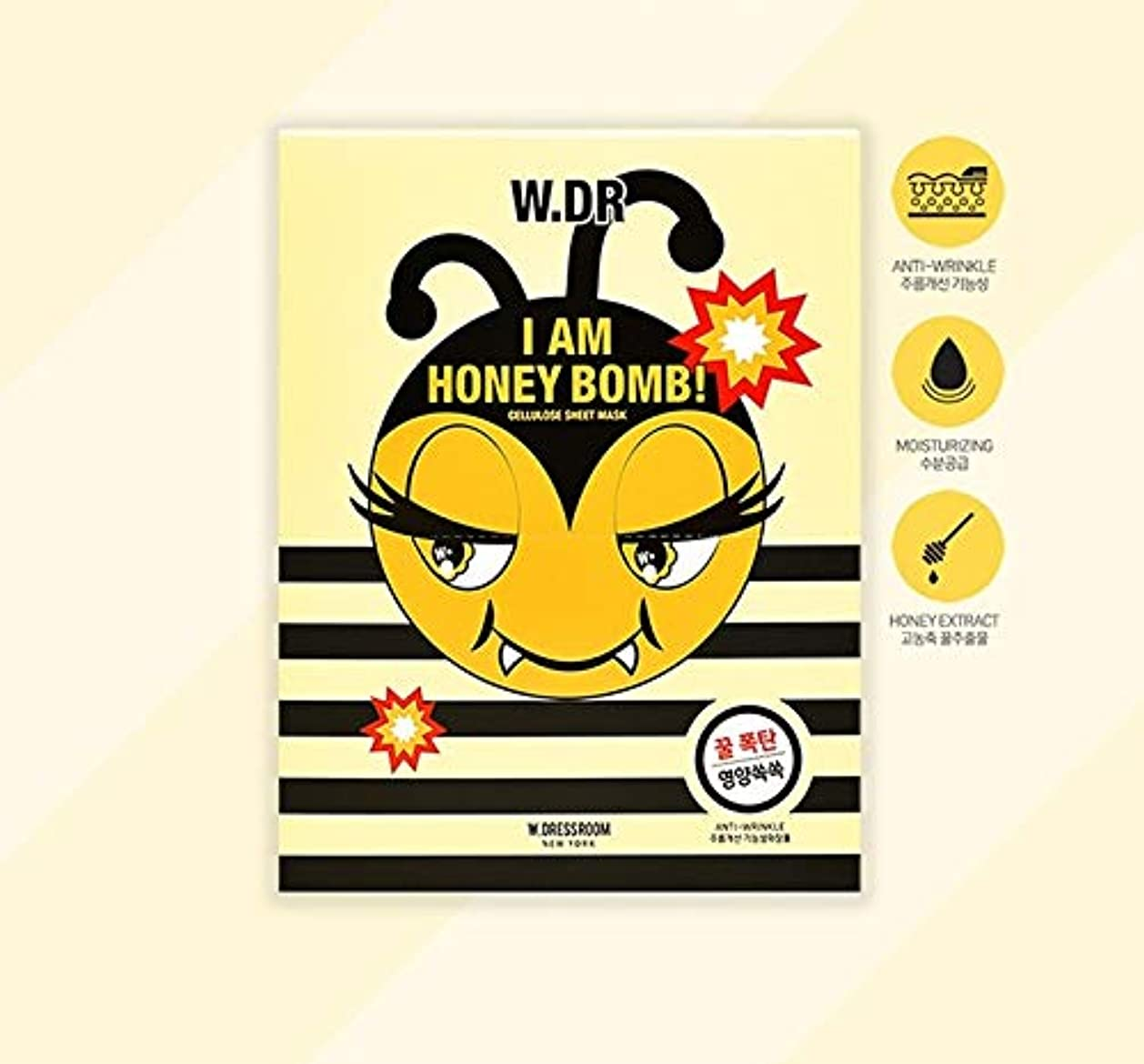 防腐剤形好意W.DRESSROOM I AM HONEY BOMBセルロースシートマスク10EA 韓国の有名化粧品ブランドの人気マスクパック水分補給肌の保湿スキンケア
