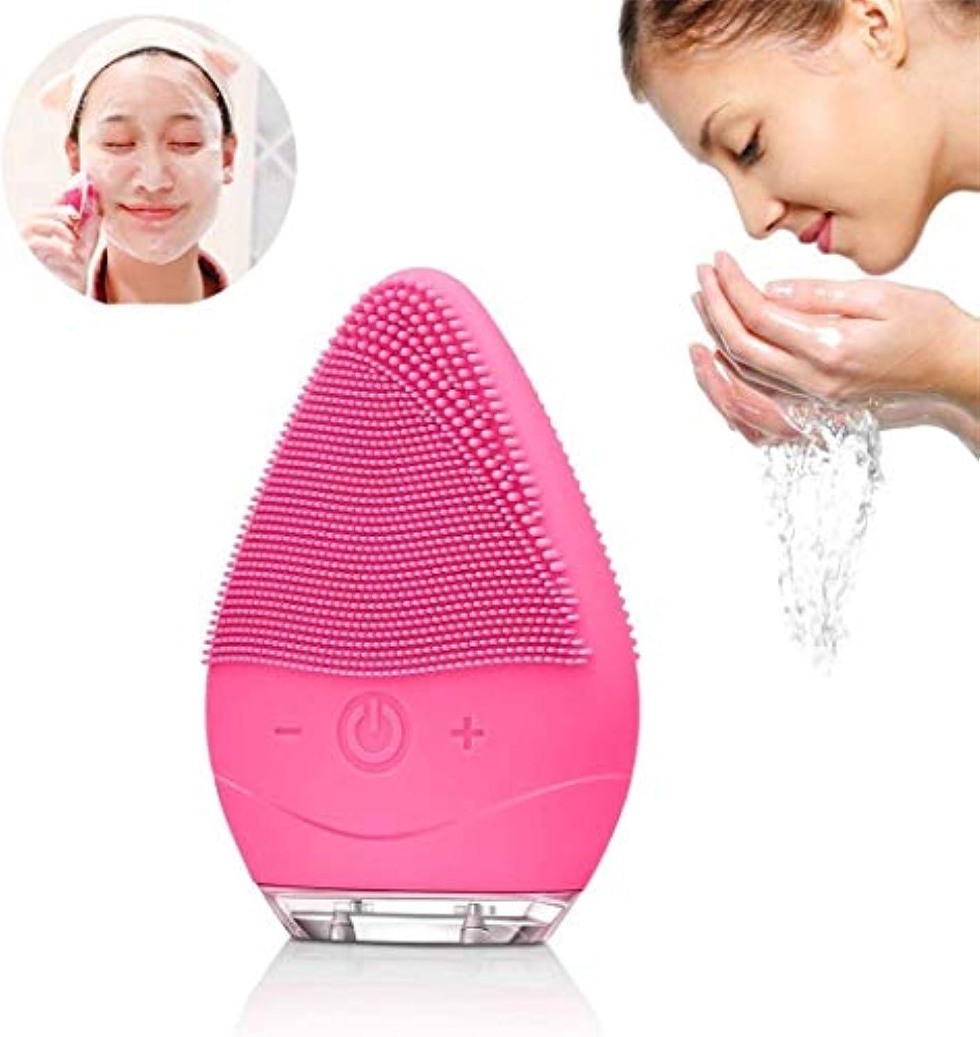 まとめるチーフ一節ソニック洗顔ブラシ、防水シリコーン洗顔ブラシエレクトリックフェイス振動マッサージ器USB充電式(ローズ)とクリーンな肌のためのデバイス