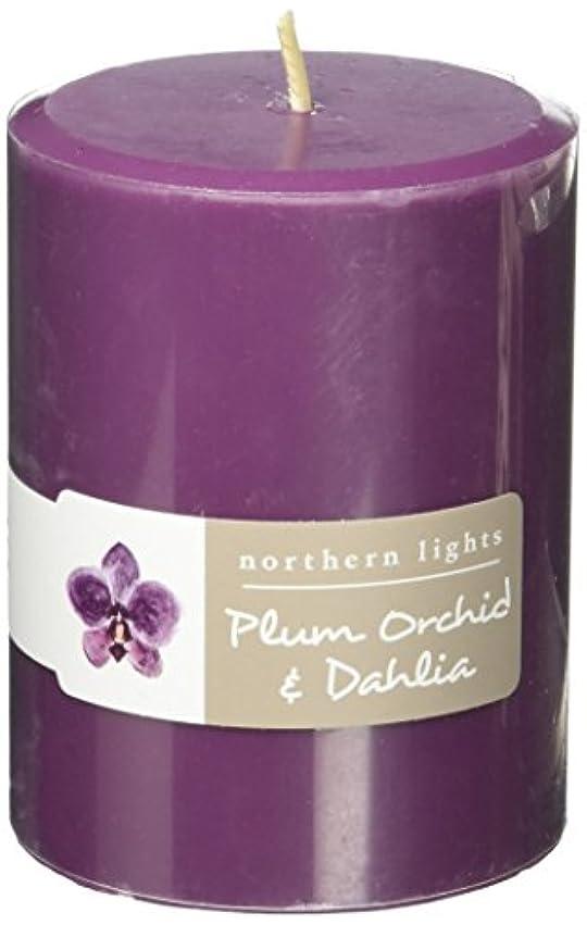 メルボルンいたずら活性化するNorthern Lights Candles Plum Orchid &ダリアFragranceパレットPillar Candle、3 x 4