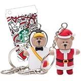 海外スタバ ベアリスタ クリスマスキーチェーン サンタ&ペンギン カード付き