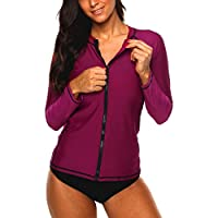 Vegatos Women Zip Rash Guard Long Sleeve UV Block Rashguard Swim Shirt Athletic Top