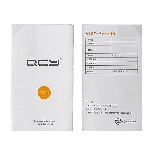 QCY QY19 (QCY QY8 改良版) Bluetooth 4.1 ワイヤレスイヤホン マイク内蔵 ハンズフリー 通話 APT-X CSR 8645 CVC6.0 ノイズキャンセリング搭載 防水 防汗 高音質スポーツイヤホン 技適認証済 【日本正規品】メーカー1年保証 (ブラック)