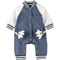 Baby Nest ベビー服 ロンパース カバーオール 野球 前開き 男の子 長袖 コットン100% ネイビー 3-6M