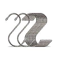 S字フック 7.3cm 20個 大型 ユニバーサルフック ステンレススチール 非対称 汎用フック 丸みの先端 一体成型 丈夫 耐久 錆びに強い 滑り止め 吊り下げ 収納 衣類 生活雑貨 調理器具 銀色