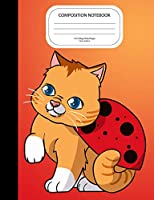 Composition Notebook: Cute Cat Ladybug