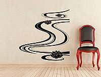 ウォールステッカー自己接着、ロータスフラワー川ウォールステッカーはインスパイアビニールステッカーのベッドルームのホームインテリアアート装飾の壁画076、カスタムカラー、42X43cmを引用します