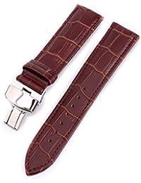 時計バンド 本革 19mm おしゃれ 耐水性 スポーツ 腕時計 ベルト プッシュ Dバックル 鰐皮紋様 (ブラウン)