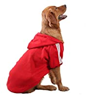 SEHOO犬の服 大型犬 秋冬 ドッグウェア コート パーカー ペット用品 愛犬トップス フード付き 体型カバー 中型犬(レッド,3XL)