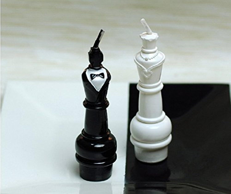 レッドチェリーホワイトandブラックKing and Queen国際チェスキャンドル