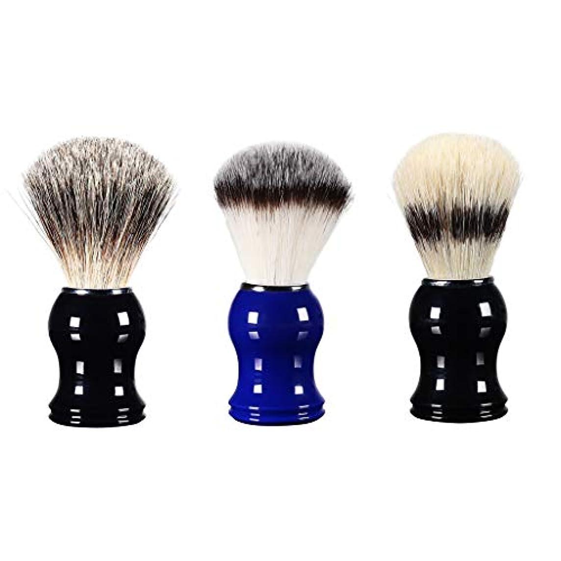 難しい細心のタフメンズ用 髭剃り シェービングブラシ 樹脂ハ ンドル 理容 洗顔 髭剃り 男性 ギフト 3個入