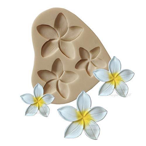 かわいいプルメリアフラワーシリコン型1個 DIYゼリーショットデザートハンドメイドアイスクリームフォンダン型ガムペーストチョコレートカップケーキトッパーデコレーションソープ型キャンディアイスキューブ。