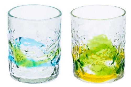 でこロックグラス2個セット(水/緑・黄/緑)