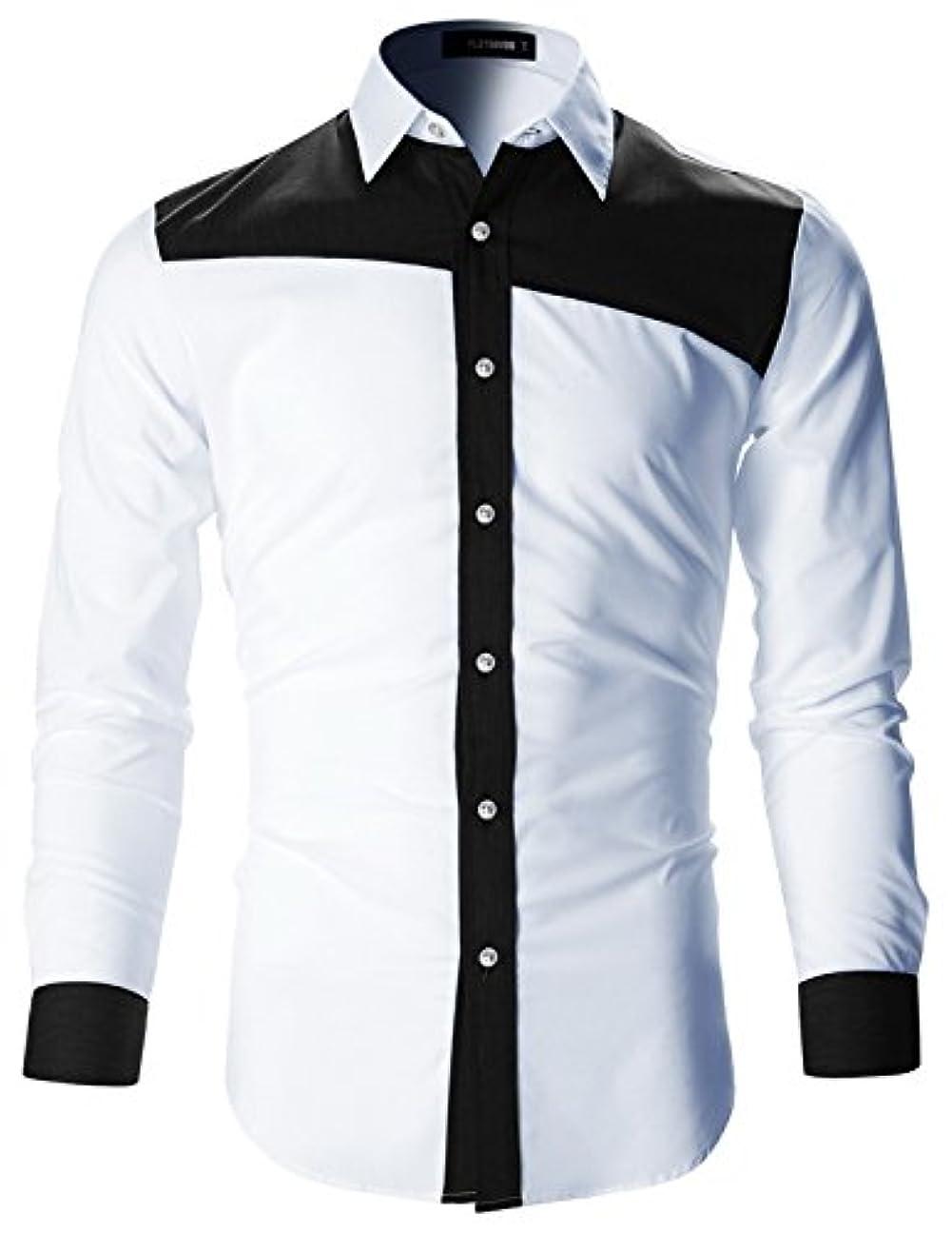 トライアスリート自転車腐食する(フラットセブン) FLATSEVEN メンズ デザイナー スリム フィット ドレス シャツ