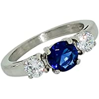 Birthstone Ring~September~Stainless Steel~3 Stone~Cubic Zirconia CZ~Sapphire~Blue Crystal~Mother's Ring~Fashion Ring~Women's Jewelry