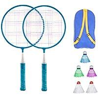 LIOOBO Kids Badminton Set Ball Badminton Rackets Set Kids Play Game Toy with Three Balls and Storage Bag Pink