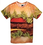 まるで 本物 3D Tシャツ (半袖 M, ハンバーガー)