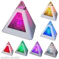 mazimark -- 7色変更デジタルLCD三角形ピラミッド時間LEDアラーム時計温度計