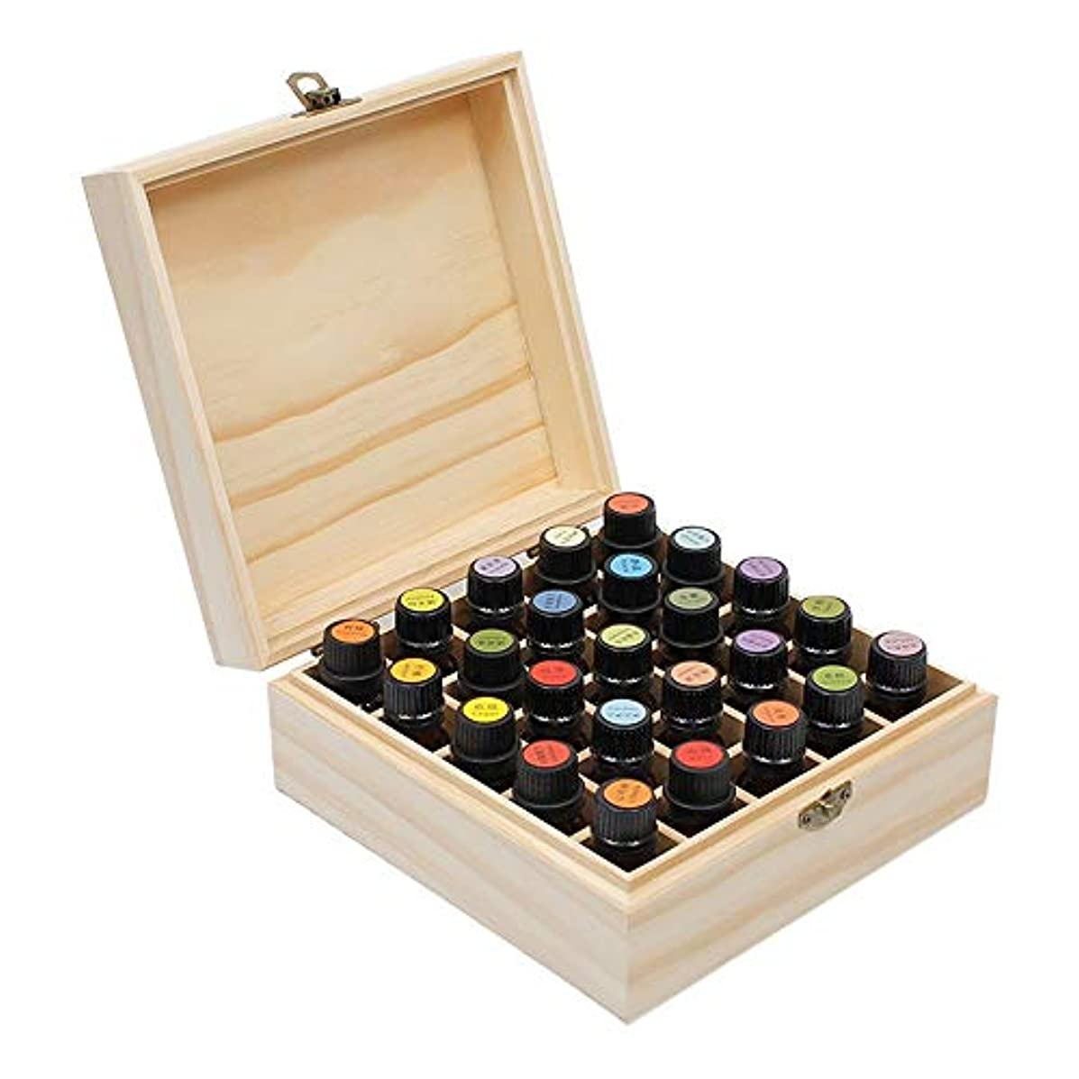 脈拍アベニューモザイクエッセンシャルオイルの保管 25搬送するためのスロットエッセンシャルオイルボックス木製収納ケースとホームストレージの表示 (色 : Natural, サイズ : 18.3X18.3X8.3CM)