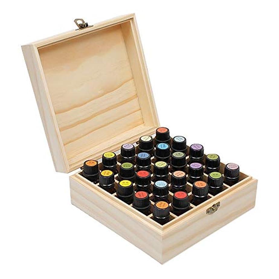 カヌーワイド誰でもエッセンシャルオイルストレージボックス 25搬送するためのスロットエッセンシャルオイルボックス木製収納ケースとホームストレージの表示 旅行およびプレゼンテーション用 (色 : Natural, サイズ : 18.3X18.3X8.3CM)