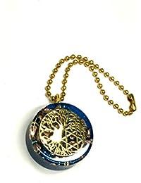 RELIGHT オルゴナイト ツリーオブライフ 六芒星 幾何学模様 ペンダント ネックレス チャーム (ブルー)