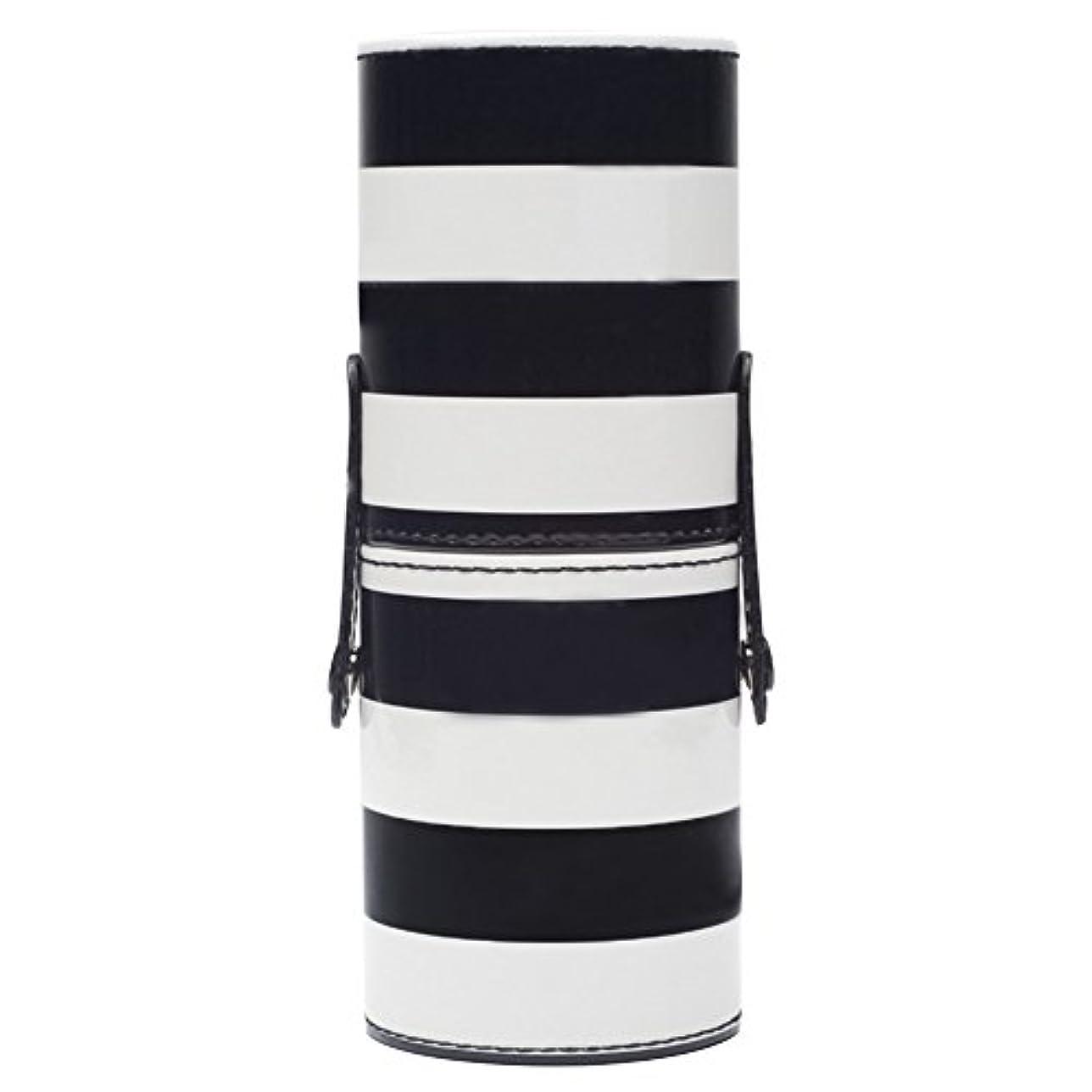 圧力かき混ぜる多様性ゴシレ Gosear 18 x 7cm レディース メイク ブラシ ケース 円筒型 専用収納 ケース 文房具バレル 収納桶 収納筒 PUレザー ケース 黑白ストライプ