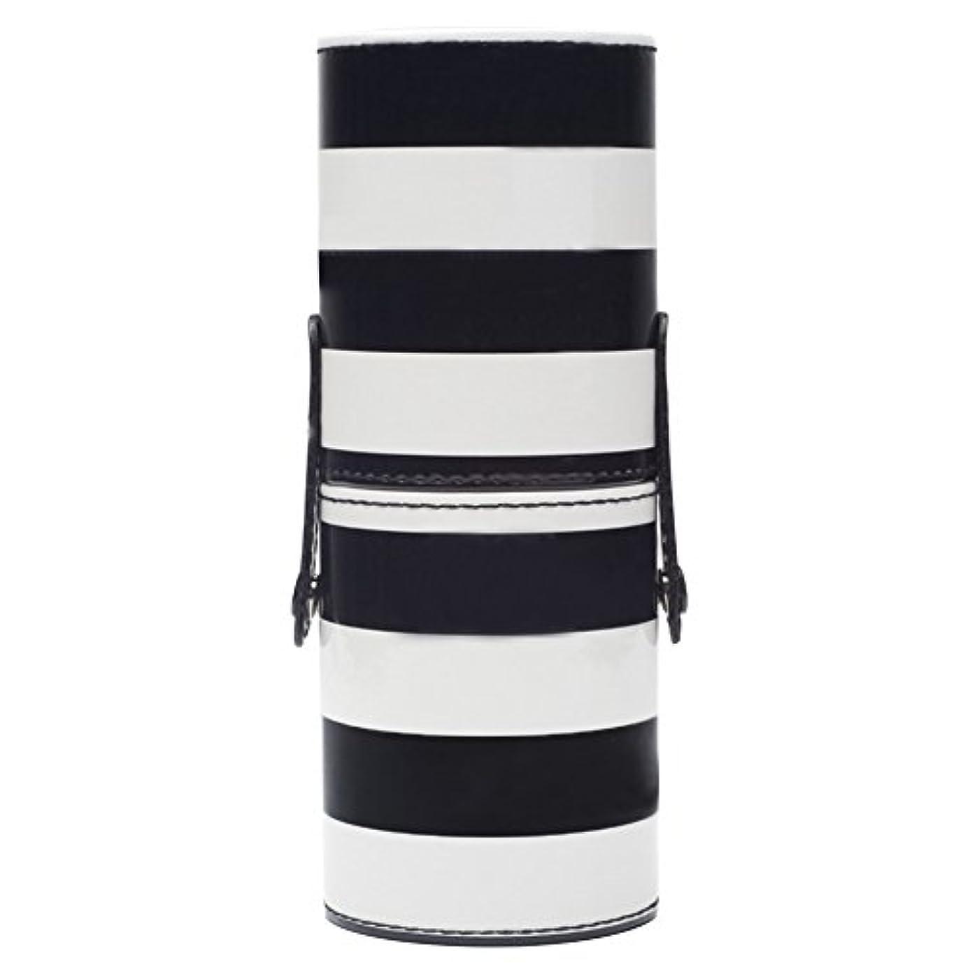 コスチューム奨励します精通したゴシレ Gosear 18 x 7cm レディース メイク ブラシ ケース 円筒型 専用収納 ケース 文房具バレル 収納桶 収納筒 PUレザー ケース 黑白ストライプ