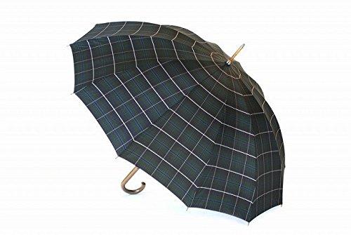 高級甲州織 メンズ 長傘 「Makita Trad」Douglas Green グリーン ネイビー タータンチェック 江戸時代から140年以上の歴史を持つ甲州織の老舗傘メーカー 槙田商店 紳士用 高級傘