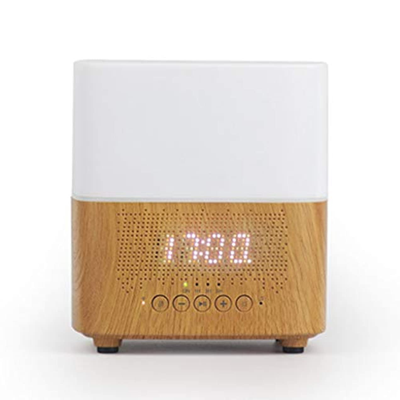 クロス直面する先住民ブルートゥースのスピーカー機械LED時計の目覚まし時計の夜ライト加湿器 (Color : White)