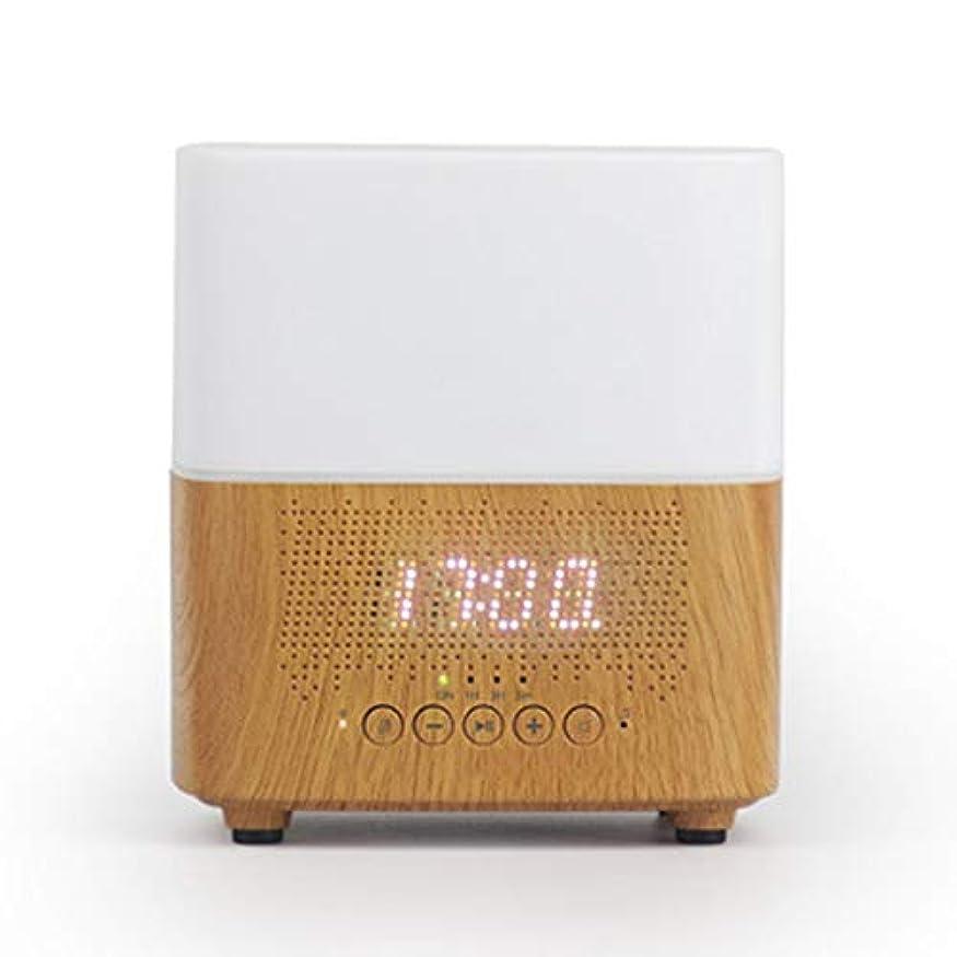 公平セーブ座標ブルートゥースのスピーカー機械LED時計の目覚まし時計の夜ライト加湿器 (Color : White)
