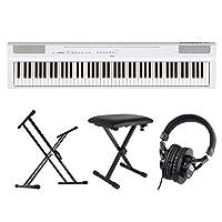YAMAHA P-125WH ホワイト 電子ピアノ スタンド ベンチ ヘッドホン 4点セット [鍵盤 Cset]