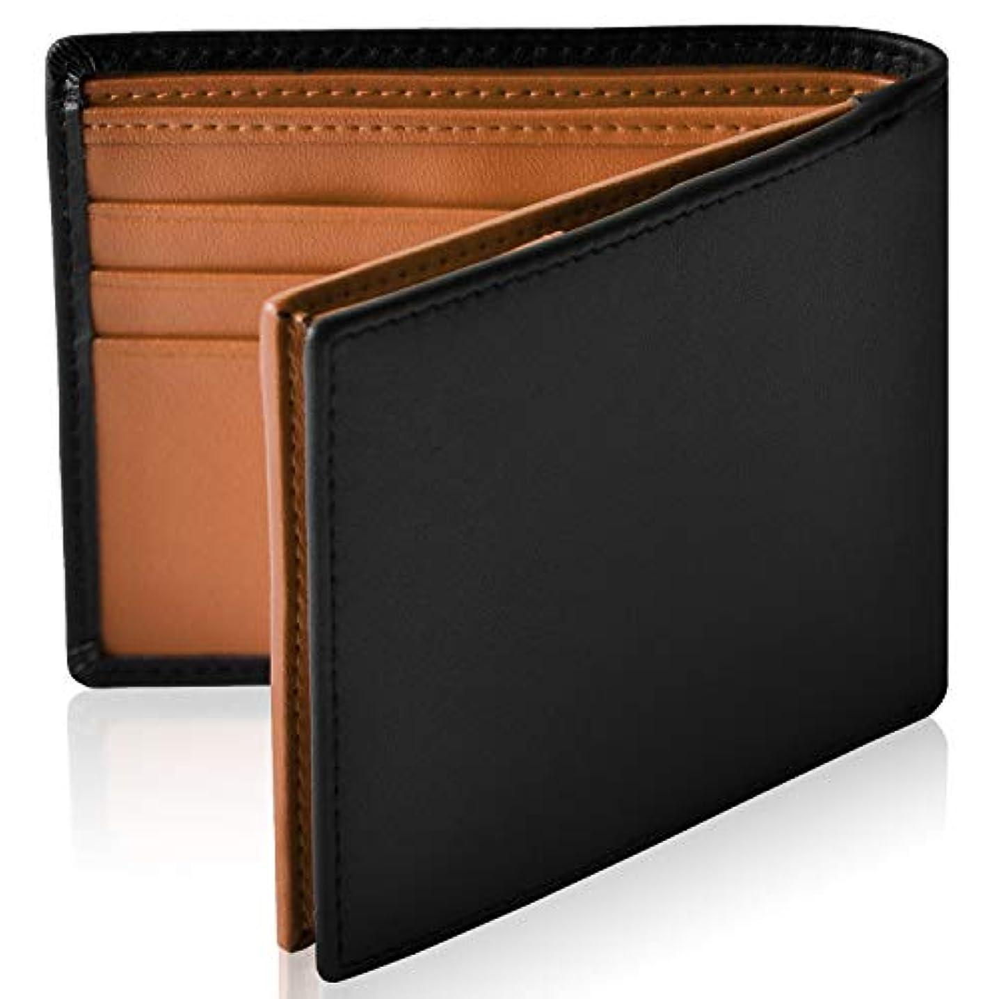 橋バッジジェームズダイソンLe sourire スリム 二つ折り 財布 本革 オールインワン 新設計のボックス型小銭入れ 二つ折り財布 メンズ