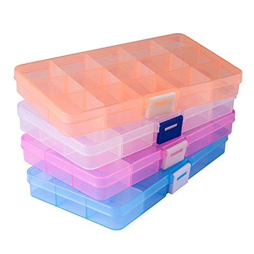 Opret パーツボックス パーツケース 収納ボックス 小物収納 釣り収納 小物入れ アクセサリー収納 透明ボックス 雑貨入れ【15グリッド 4色セット】