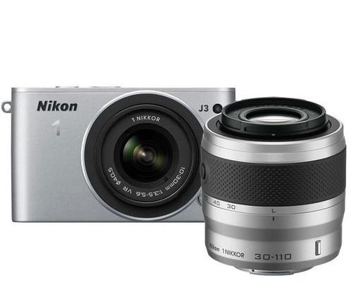 Nikon 1j3ミラーレスデジタルカメラW / 10–30mm、30–110mmレンズ(シルバー)