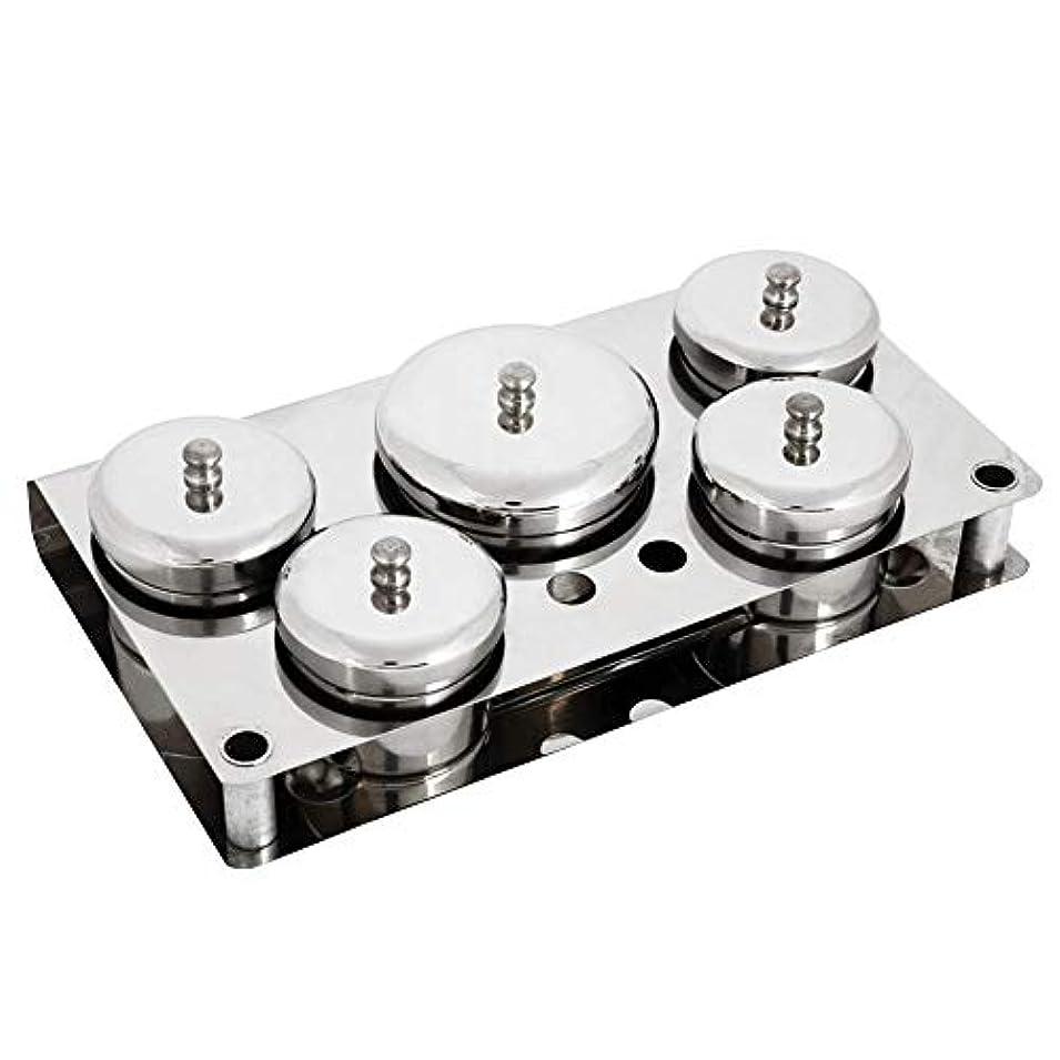 旅行今後白い5本ネイルアートツール、ステンレス鋼ミニパウダー&リキッドセット缶収納ボックスコンパクトマニキュア機器
