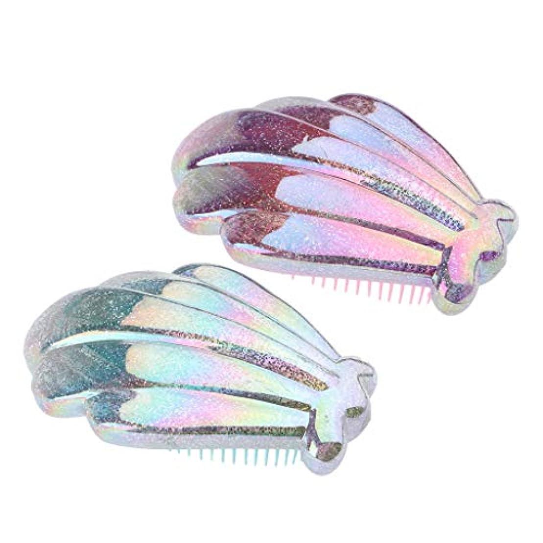 応答染色バーターヘアブラシ クッションブラシ コーム 櫛 ヘアケア 髪 美髪ケア 静電気防止 頭皮マッサージ 2個入