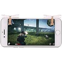 荒野行動 スマホコントローラー,Y-BEST ゲームパッド 七代目改良版 透明デザイン 高敏感度 コントローラーハンドル スマホ用 高速射撃用 押しボタン式 iPhone/Android対応 二個セット(左右通用)