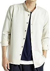 (モノマート) MONO-MART スーツ地 ストレッチ L/S シャツ バンドカラー ボタンダウン 長袖 MODE メンズ