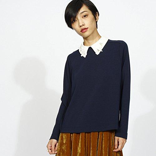 (アクアガール) aquagirl ◆【WEB限定】MUVEIL フラワーカラー衿付ポンチプルオーバー 02813891 01(S) ネイビー(093)