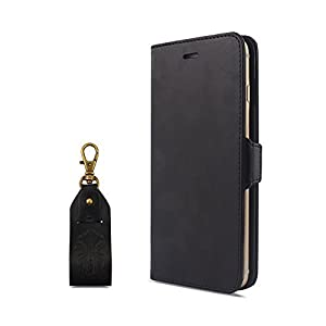 【HANATORA】 iPhone 8/7 (4.7インチ) ケース PUレザー手帳型ケース ブラック