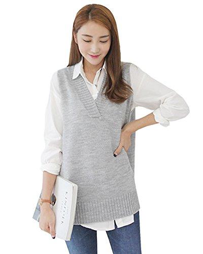 [해외]DAILY NJbt02 노 브랜드 제품 여성용 튜브 톱 니트 베스트 성인 귀여운 V 넥 슬릿 언밸런스 길이 튜닉 한국 패션 (네이비)/DAILY NJbt 02 brand ladies tops knit vest adult cute V neck slit unbalanced length tunic Korean fashion (navy)